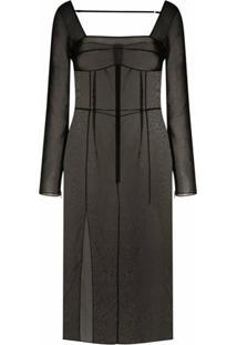 Supriya Lele Vestido Translúcido - Preto