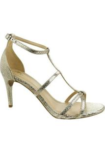 Sandália Salto Alto M Shuz Texture Gold Feminina - Feminino-Dourado