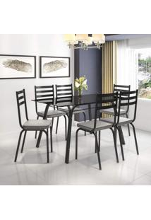 Conjunto Sala De Jantar Mesa Lotus Tampo De Vidro Preto E 6 Cadeiras Artefamol Preto/Platina