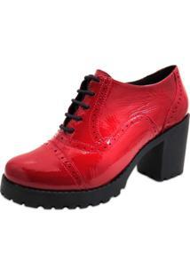 Sapato Oxford Feminino Q&A Em Couro Verniz Vermelho