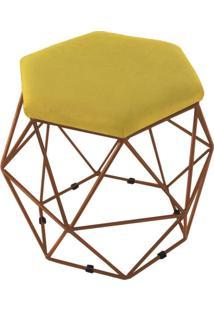 Puff Aramado Bronze Assento Hexagonal Suede Amarelo - Ds Móveis
