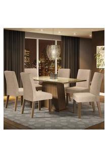 Conjunto Sala De Jantar Madesa Patricia Mesa Tampo De Vidro Com 6 Cadeiras - Rustic/Crema/Imperial Marrom