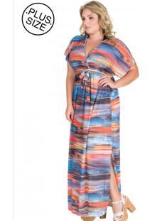 Vestido De Praia Plus Size Anaju Multicolorido