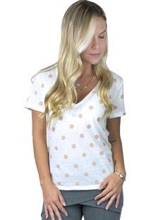 Camiseta It Shop Poá Branca E Rosa
