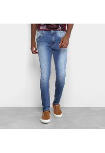 Calça Jeans Skinny Gangster Estonada Masculina - Masculino