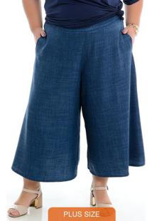 Calça Pantacourt Azul Plus Size