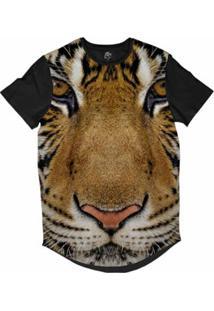 Camiseta Bsc Longline Tigre De Bengala Sublimada Masculina - Masculino-Preto