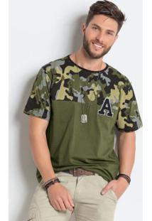 Camiseta Verde E Camuflada De Algodão