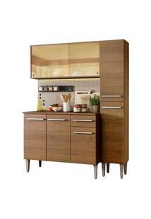 Cozinha Compacta Madesa Emilly Gold Com Armário, Balcáo E Paneleiro Marrom