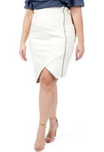 Saia Almaria Plus Size Lady More Couro Feminina - Feminino-Off White