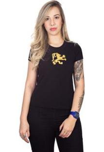 Camiseta 4 Ás Manga Curta Dragão Feminina - Feminino-Preto