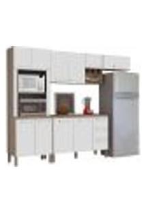 Cozinha Modulada Ametista 5 Módulos Composição 5 Nogal/Branco - Kit'S Paraná