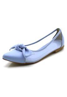 Sapatilha Feminina Bico Fino Com Transparência Em Napa Azul Serenity