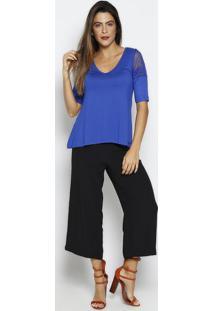 Blusa Com Recortes & Renda- Azul Escuro- Thiptonthipton