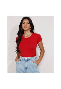 Camiseta Feminina Básico Manga Curta Decote Redondo Vermelha