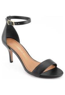 Sandalia Salto Medio Lisa Preto