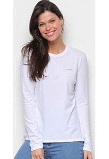 Blusa Calvin Klein Logo Manga Longa Feminina - Feminino-Branco