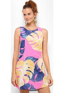 773577c80 ... Vestido Farm Tubinho Curto Folhagem - Feminino-Rosa+Azul