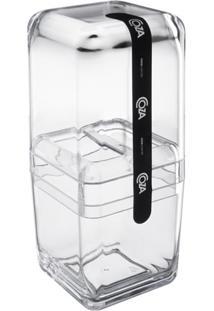 Porta Escova Com Tampa Banho Cube Cristal 20877/0009 Coza