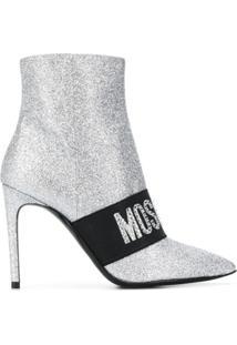 Moschino Ankle Boot Com Brilho - Prateado
