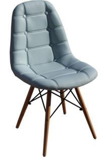 Cadeira Estofada Base Madeira Madri Siena Móveis Azul Claro