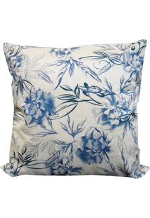 Capa Para Almofada Veludo Estampado 45X45 - Perfil Matelados - Floral / Azul