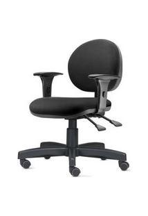 Cadeira 323 Com Bracos Assento Crepe Preto Base Metalica - 54491 Preto
