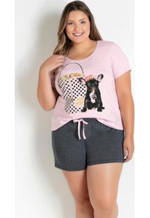 Pijama Plus Size Curto Rosa Bebê E Chumbo