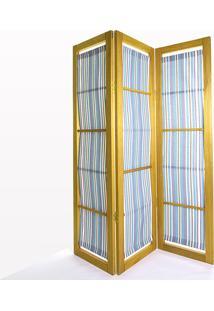 Biombo De Madeira Em Tecido Dominoes Stain Amarelo T06 - 150X3,5X179 Cm