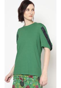 Blusa Com Botões- Verde & Azul Marinho- Colccicolcci