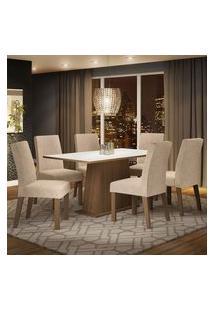 Conjunto Sala De Jantar Madesa Luciana Mesa Tampo De Madeira Com 6 Cadeiras Rustic/Branco/Imperial Rustic/Branco/Imperial