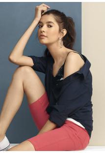 Camisa Feminina Básica Em Tecido De Viscose Com Fechamento Por Botão