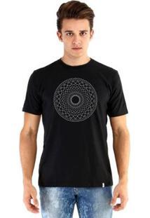 Camiseta Ouroboros Manga Curta Radial Reggae - Masculino-Preto