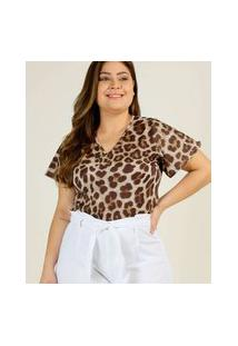 Body Plus Size Feminino Animal Print Manga Curta