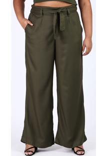 Calça Feminina Plus Size Pantalona Cintura Alta Com Faixa Para Amarrar Verde Militar