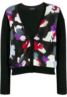 Emporio Armani Abstract Print Cardigan - Preto