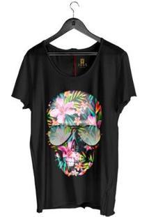 Camiseta Estonada Corte À Fio Joss Caveira Flores Coloridas Masculina - Masculino-Preto