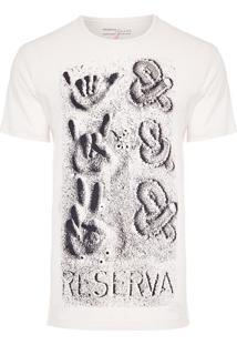 Camiseta Masculina Estampada &&& Areia - Off White