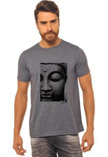 Camiseta Masculina Joss Estampada Face Buda Chumbo