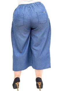 Calça Brunfer Plus Size Pantacourt Gleicielly Feminina - Feminino-Azul