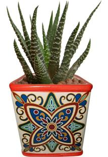 Cachepot Urban Home De Cerâmica Vermelho Tile Vintage Pequeno N