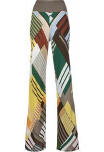 Rick Owens Calça Pantalona Color Block - Estampado