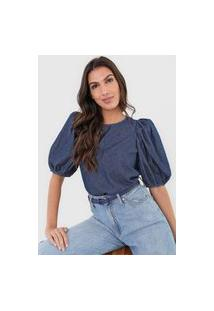Blusa Jeans Colcci Mangas Bufantes Azul