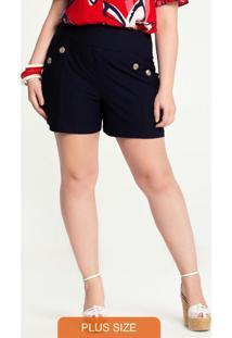 Shorts Plus Size Crepe Com Botões Azul