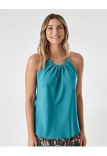 Blusa Tecido Preguinha New Color Feminina - Feminino-Azul Claro