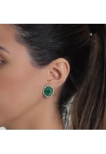 Brinco Rosa Pinhal Flor Cravejado Com Zircônias E Cristais Verde Esmeralda