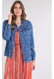 Jaqueta Jeans Feminina Longa Com Bolsos Azul Médio