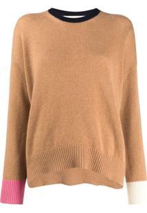 Marni Suéter De Tricô Com Mangas Contrastantes - Marrom