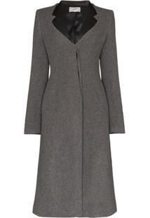 Coperni Faux Leather-Trimmed Lapel Coat - Cinza