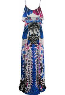 Just Cavalli Vestido Estampado - Azul